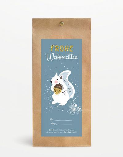 """""""Frohe Weihnachten"""" Geschenksäckchen mit Tierschutzspende"""