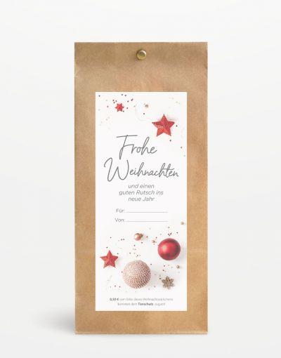 """""""Frohe Weihnachten"""" Geschenksäckchen mit Tierschutzspende breit"""
