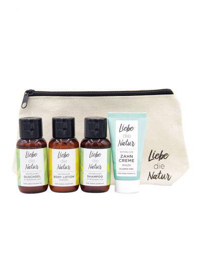 Liebe die Natur | Reise- und Kosmetiktasche gefüllt mit 4 Produkten